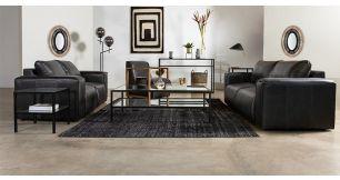 Amalfi 2 Piece Lounge Suite in Full Leather, Shuduli Smoke