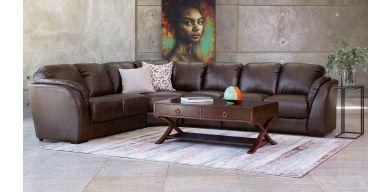 Studio 4 Piece Corner Lounge Suite in Air-Leather, Bourbon